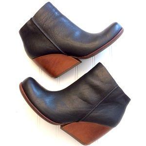 Kork-Ease Natalya black & brown wedge ankle bootie